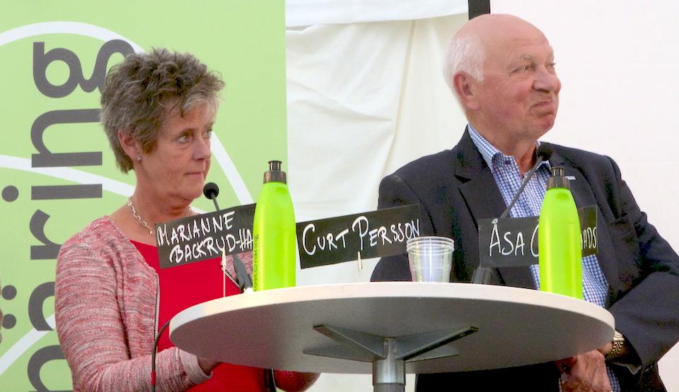 Marianne Backrud-Hagberg och PRO:s ordförande Curt Persson – två av de fem paneldeltagarna. Foto Lotta Nilsson/Magasin Måltid (samtliga foton)